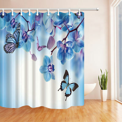 Butterfly And Orchid Shower Curtain Bathroom Decor Fabric