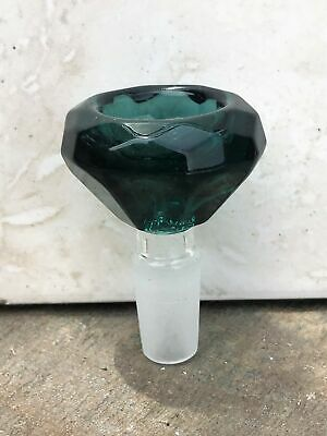Large Thick Green Glass Diamond Cut 14mm Male Slide Bowl