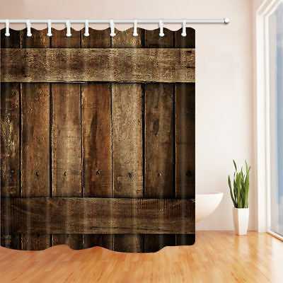 "Bath Rug 71/"" Long Shower Curtain Rusty Texas Star Wood Board Polyester Fabric"