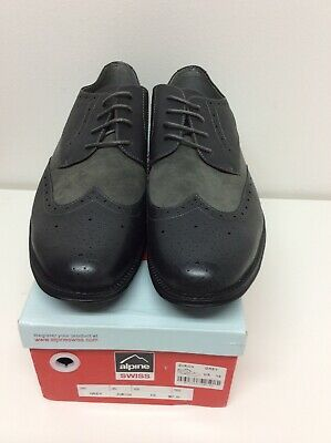 Alpine Swiss Mens Wing Tip Dress Shoes Oxfords Tone Gray Size-15 New in Box