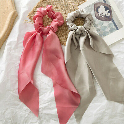Solid Color Girls DIY Bow Streamers Hair Scrunchies Silky Satin Holder Hair Ties