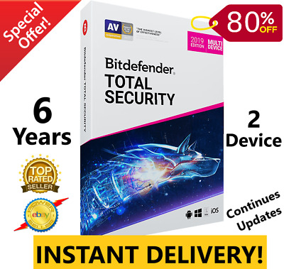 Bitdefender Total Security 2019/2020  6 Years 2 Device-Download-Instant Delivery