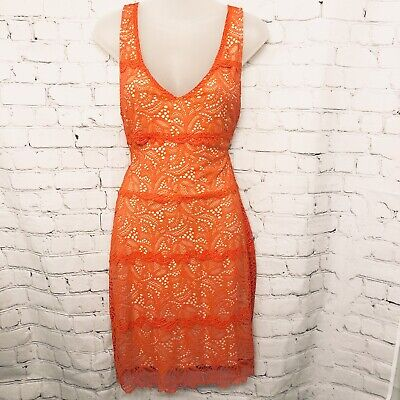 Bebe Woman's Coral Lace Summer Vneck Dress Knee Length Sz Medium