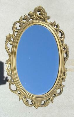 """Antique Hollywood Regency Syrocco Oval Ornate Gold Mirror 26"""" x 16"""""""