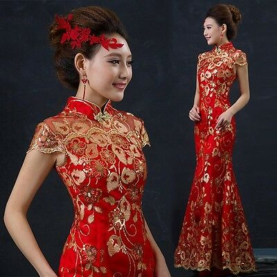 Womens Chinese Style QiPao Lace Slim Fit Evening Wedding Bride Long Dress