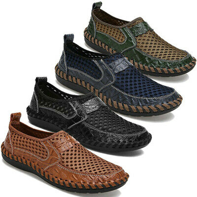 Mens Driving Slip on Loafers Summer Breathable Mesh Comfy Casual Flat Shoes Size