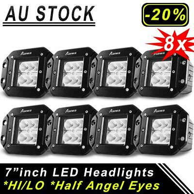 Flush Mount CREE Flood LED Cube Pods Work Light 5inch Offroad Truck SUV 200W X8