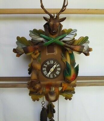 Cuckoo Clock Black Forest Hunter working vintage multi-colorLOCAL PICKUP ONLY