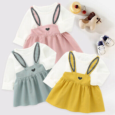 Baby Girls Kids Party Clothes Princess Dress Long Sleeve Rabbit Bandage Suit New