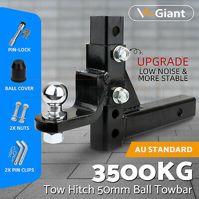 Adjustable Height Tow Hitch 50mm Ball Towbar Drop Mount Tongue Trailer 4WD Car