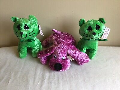 Mixed Lot Of 3 New With Tags Fiesta Green Pink Cat Dog Plush Stuffed Animal Toys