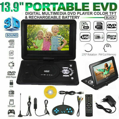 13.9'' LED Portable Lecteur DVD HD TV FM radio Multimédia USB 800mah Batterie FR