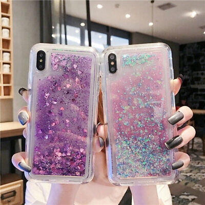 For iPhone XR XS 8 5 5S Plus SE Glitter Dynamic Liquid Quicksand Slim Case Cover