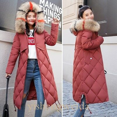 Ladies Fur Hooded Plus Size Womens Long Winter Coat Padded Quilted Puffa Jacket