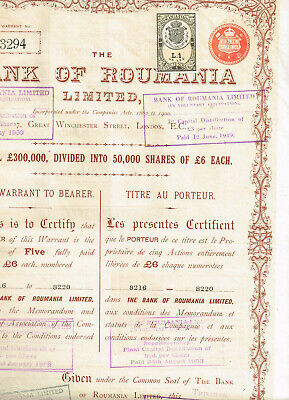 Bank of Roumania Ltd., 1903, 5 shares, tax-stamps, interesting, VF