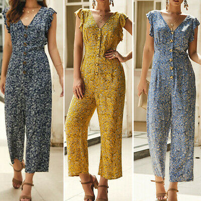 AU Casual Boho Women's Floral Holiday Long Playsuits Dress Beach Jumpsuit V-Neck