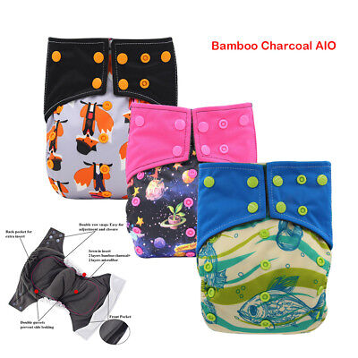 AIO Reusable Diapers Cloth Nappy Charcoal Bamboo Sewn Insert Baby Pocket Diaper