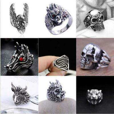 Silver Stainless Steel Gothic Punk Biker Rings Fashion Mens Jewelry Lots 8-10