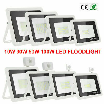 Projecteur 10-100W LED SMD PIR Sensor Motion Security Flood Light Jardin Cool