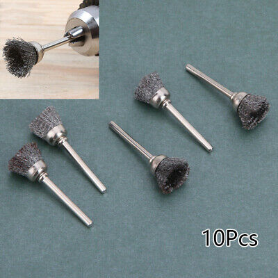 New 10 Pcs Mini Wire Brush Brushes Brass Cup Wheel For Grinder Or Drill Set Hot