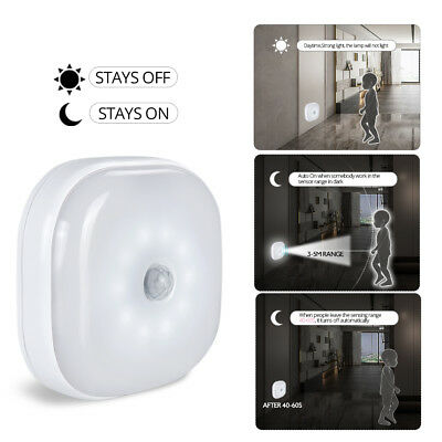 8 LED Night Light PIR Motion Sensor Infrared Wireless Battery Powered Wall Lamp
