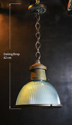original 1930s Reclaimed vintage HOLOPHANE Industrial pendant light lantern