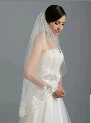 UK 1 Tier White Ivory Fingertip Length Bridal Wedding Veil With Comb Lace 36""