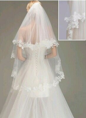 UK 2 Tier Lace Edge Cheap Bridal Veil Fingertip  Length Wedding Veil With Comb