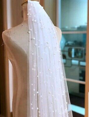 UK 1 Layer Cathedral Length Bridal Veil 3 meters Pearl Wedding Veil With Comb