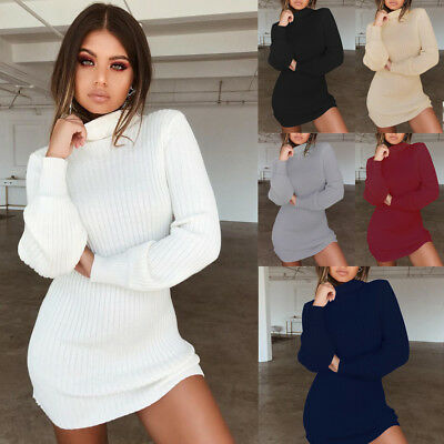 Sexy Women Knitted Loose Sweater Jumper Dress Ladies Winter Long Pullover Tops