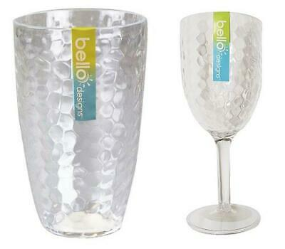 Plastic Wine Goblet Set Drinks Tumbler Glasses BBQ Outdoor Dining Party Dimple