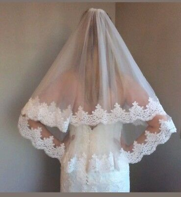 UK White Ivory 2 Tier Elbow Length Bridal Wedding Veil With Comb Lace Edge