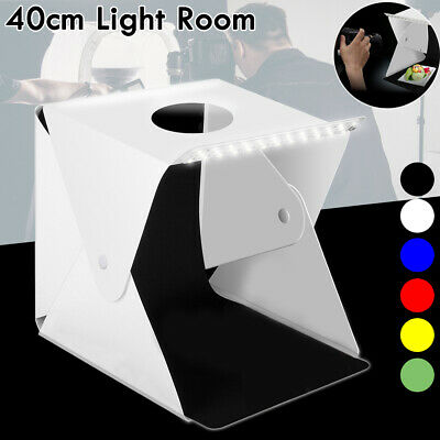 40CM Studio Light Tent Room Photography USB LED Lighting Box 6x Backdrops Cube