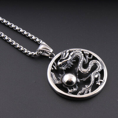 Vinage Men 316L Stainless Steel Necklace Dragon Bead Pearl Chain Punk Jewelry