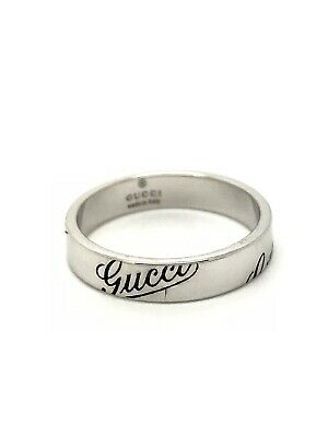 ca5909926 GUCCI 18ct White Gold Script Band Ring - 4mm Wide - Size M - 4.00g