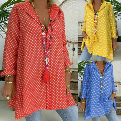 Womens Spotted Long Sleeve Button Shirt Ladies Loose Tops Tunic Blouse Plus Size