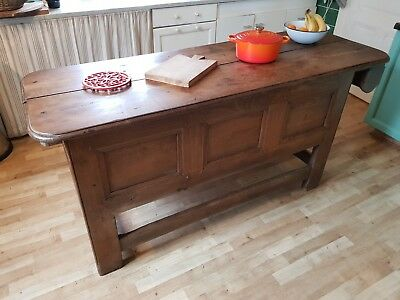 French Antique Farmhouse Chestnut Kitchen Unit Chest Table - 19th Century