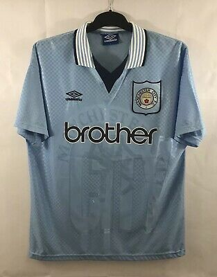 Manchester City Home Football Shirt 1995/97 Adults Large Umbro