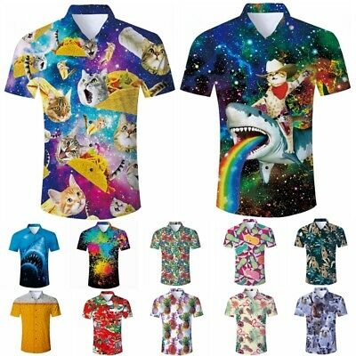 Mens Hawaiian 3D Print Button Down Casual Shirt Summer Short Sleeve Aloha TShirt
