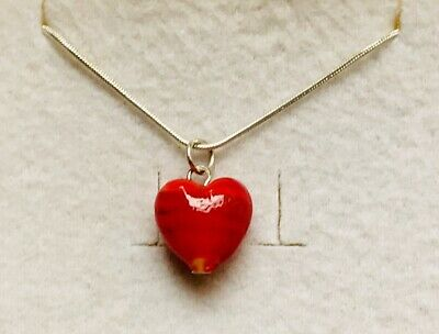 Stunning Ruby Red Frosted Stripe Murano Glass Heart Pendant & 925 Silver Chain