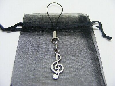 Natural Tiger Eye Crystal Heart /& Treble Clef Charm Keyring With Gift Bag