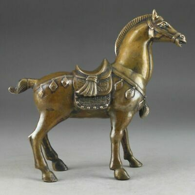 Chinese Lucky Collectable Brass Old Handwork Hammered Steed Superb Statue
