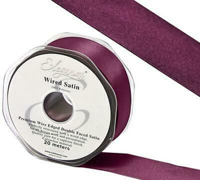 Eleganza Claret Burgundy Double Sided Satin Ribbon -10, 15, 25, width 20m length