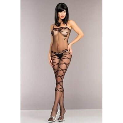 Be Wicked Offener Catsuit mit Blumenmuster Erotik Sexy Dessous