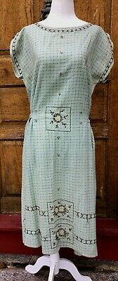 ANTIQUE 1920's 30's EMBROIDERED COTTON DAY DRESS TIES WITH SASH SO ADJUSTABLE