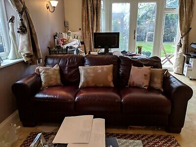 Leather Sofa. Burgundy, 2 seater and 3 seater.
