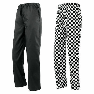 Unisex Essential Elasticated Waist Pull On Chef Kitchen Catering Trousers Pants