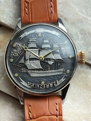 """ZENITH """"SALING SHIP"""" Silver Dial Classic Elegant Marriage Pocket Watch Movement"""