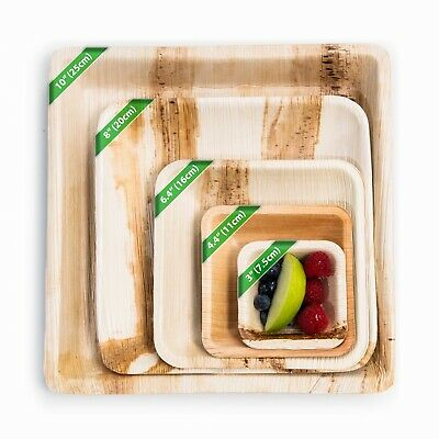 25 X Disposable Plates, Palm Leaf Natural Bamboo Square Plates, Party, Wedding