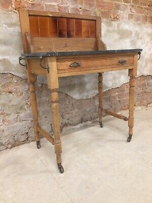 Antique Victorian / Edwardian Marble top / Tiled Back Single Draw Washstand